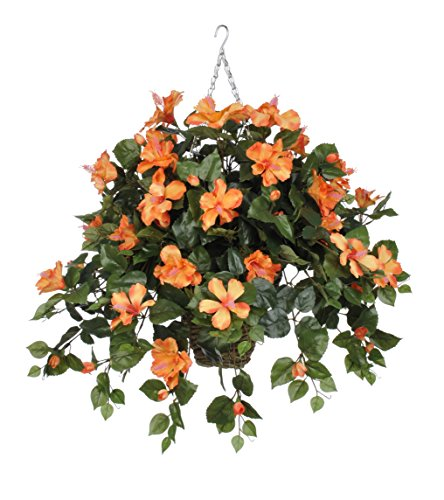 House-of-Silk-Flowers-Artificial-Orange-Hibiscus-in-Square-Hanging-Basket