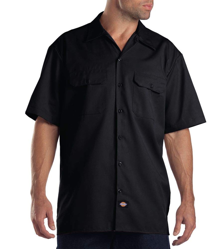 Dickies Men's Big and Tall Short Sleeve Work Shirt, Black, Large by Dickies