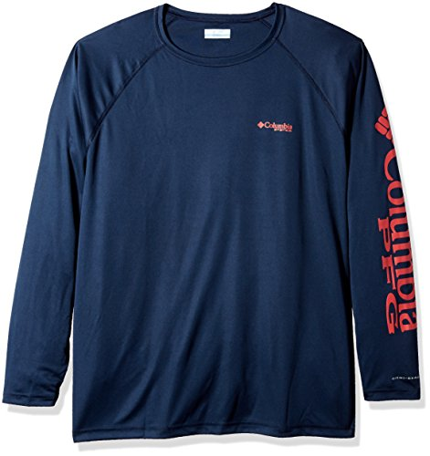 Columbia  Men's PFG Terminal Tackle Long Sleeve Shirt (Big), Collegiate Navy/Sunset Red Lo, ()