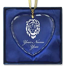 Heart Crystal Christmas Ornament - Lion Head - Personalized Engraving Included