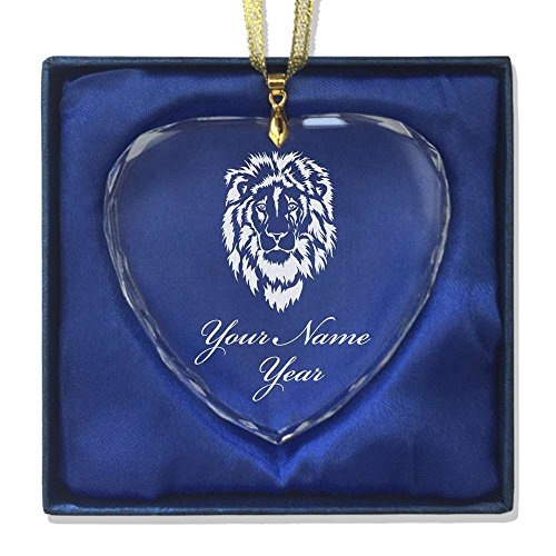 Crystal Lion Head (Heart Crystal Christmas Ornament - Lion Head - Personalized Engraving Included)