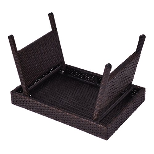 Tangkula Outdoor Wicker Patio Poolside Lawn Rattan Standing Table Side Table