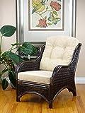 Rattan Wicker Furniture MR-DJM Djem Lounge Armchair with Light Biege Cushion, Dark Brown