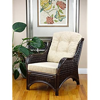 Rattan Wicker Furniture MR-DJM Djem Lounge Armchair with Light Biege Cushion, Dark Brown