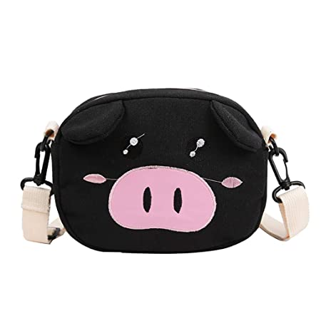 Amazon.com: Cute Pig Canvas Bag For Women Durable Single ...
