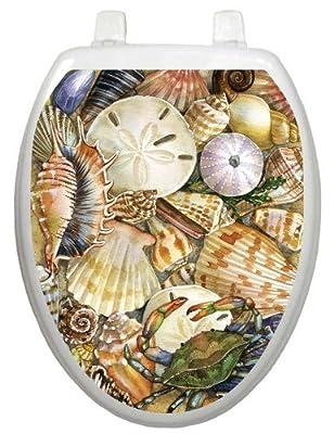 Toilet Tattoos, Toilet Seat Cover Decal, Tidal Treasures Seashells, Size Elongated