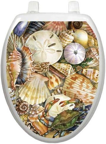 Size Elongated Tidal Treasures Seashells Toilet Tattoos Toilet Seat Cover Decal