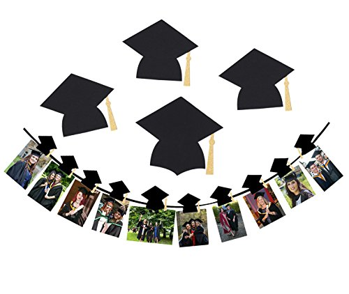 Graduation Photo Wall Hanging - Qibote Graduation Cap Banner, 2018 Graduation Sign Photo Props Garland Photo Clip Set for Graduation Party Decorations
