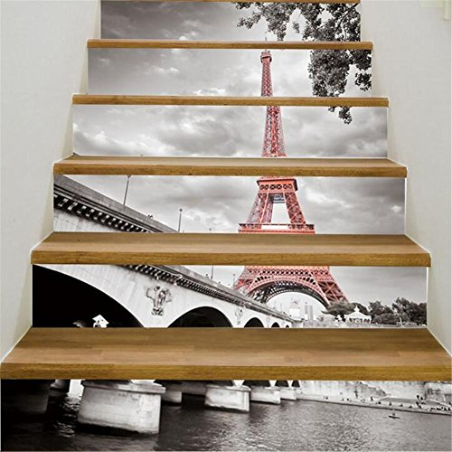 GUOW Step stickers Self-Adhesive 3D Staircase Stickers Vinyl Detachable Decorative Decals DIY Waterproof City Tower A 6 pcs/B 13pcs , - Beach City Locations Shop
