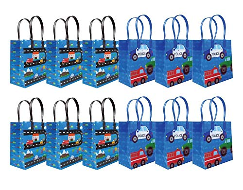 Cars Fire Trucks Transportation Party Favor Bags Treat Bags, 12 Pack