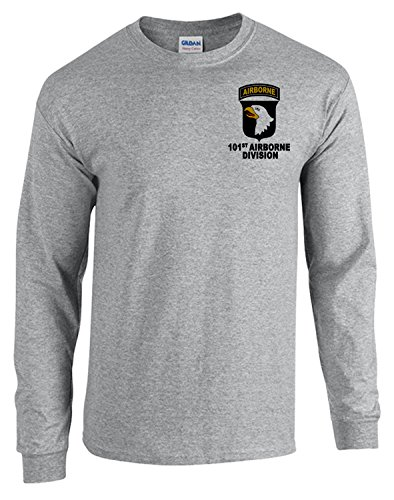 101st Airborne Division Army Sport Grey Long Sleeve Shirt USA (Sport Grey, XL) - 101st Airborne Shirts
