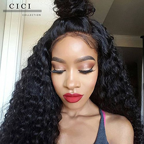 [Cici Collection 360 Lace Frontal Wig 180% Density Full Lace Human Hair Wigs For Black Women Brazilian Deep Curly 360 Lace Wig Lace Front Human Hair Wigs (18inch, Deep] (Curly Wigs For Black Hair)