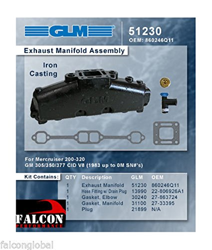 (GLM Marine Mercruiser Chevy Marine 5.0L 305 5.7L 350 GLM Exhaust Manifold. (2 Manifolds) )