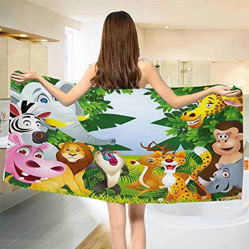 Baby Bath Towel,Group of Safari Jungle Animals with Funny Expressions Cute African Savannah Mascots,Print Wrap Towels,Multicolor Size: W 10