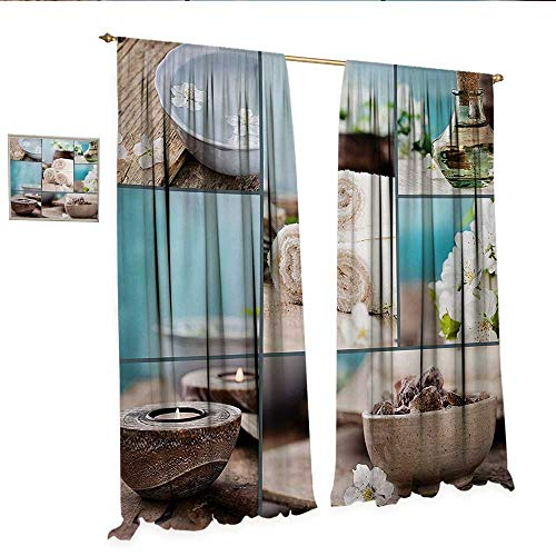 WinfreyDecor Spa Customized Curtains Far East Close to Your Heart Asian Massage Theme Collage Oils Candles Flowers Print Room Darkening Wide Curtains W72 x L84 Blue and ()