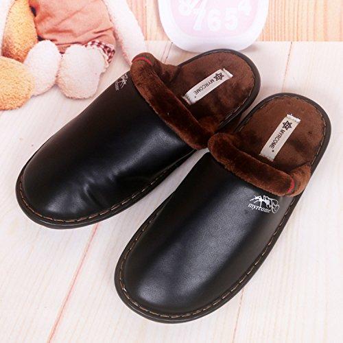 Fankou pantofole uomini e donne matura Impermeabili di cotone pantofole pantofole ,41/42, nero
