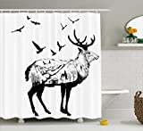 Ambesonne Deer Shower Curtain Set, Mountain and Cottage Scenery in Hand Drawn Animal Flying Birds Countryside Wildlife Themed, Fabric Bathroom Decor with Hooks, 75 inches Long, Black White