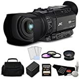 JVC GY-HM170UA Ultra 4K HD CAM Compact Professional Camcorder with Top Handle Audio Unit Bundle with .45x Wide Angle Lens Converter for 62mm