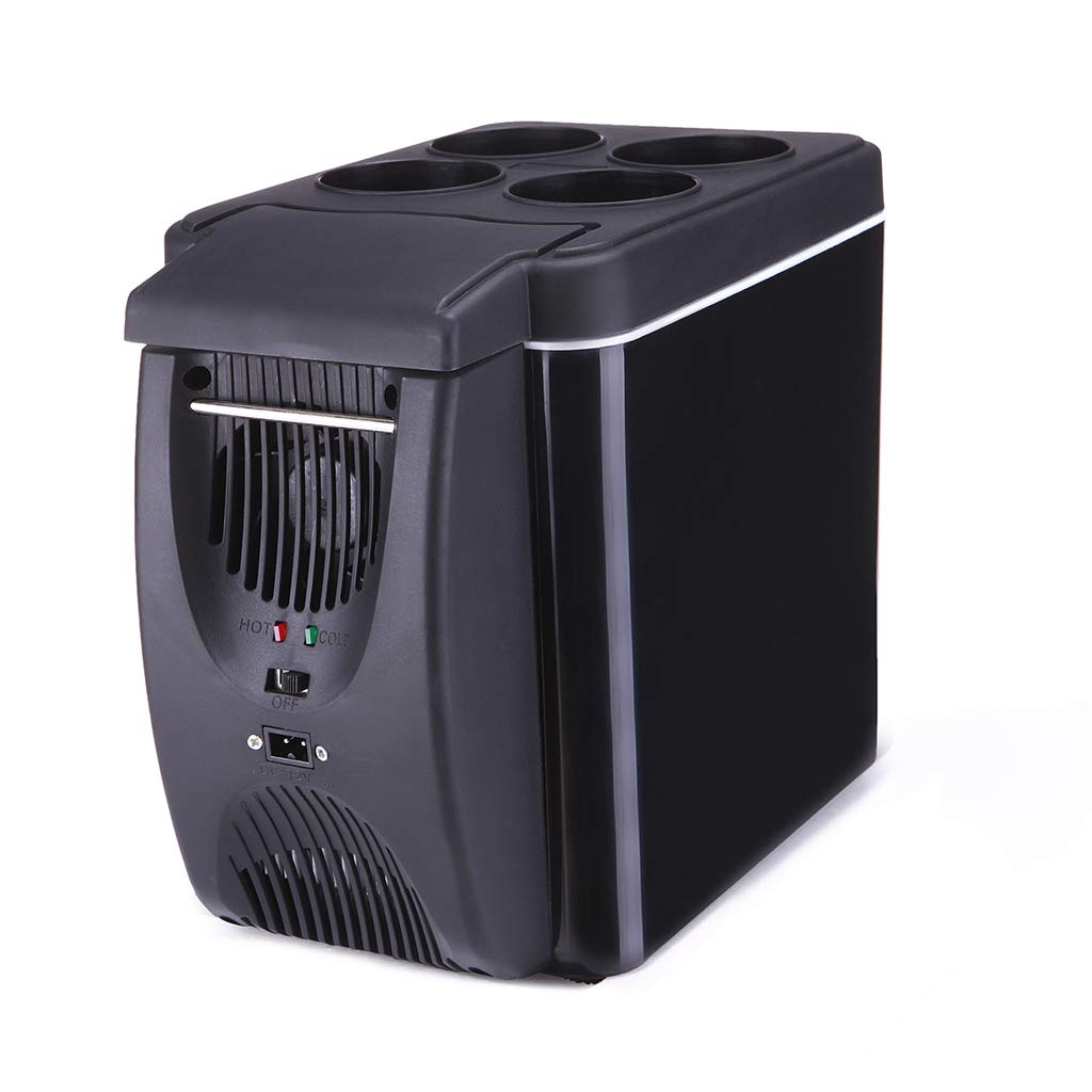 Black 6 liters 12V Thermoelectric Cooler/Warmer Car Fridge, Camping, Party, Travel