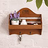 Lmaoda Solid Wood Storage Rack Wall Decoration Practical Home Accessories Wall Hanging Shelf (Color : Brown)
