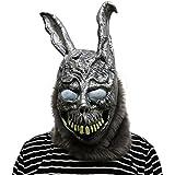 Donnie Darko Frank the rabbit mask with hair Masque en latex de très haute qualité avec des ouvertures aux yeux Carnaval de carnaval carnaval costume carénage pour adultes hommes et femmes femmes hommes effrayant creep zombie monstre démon horreur partie