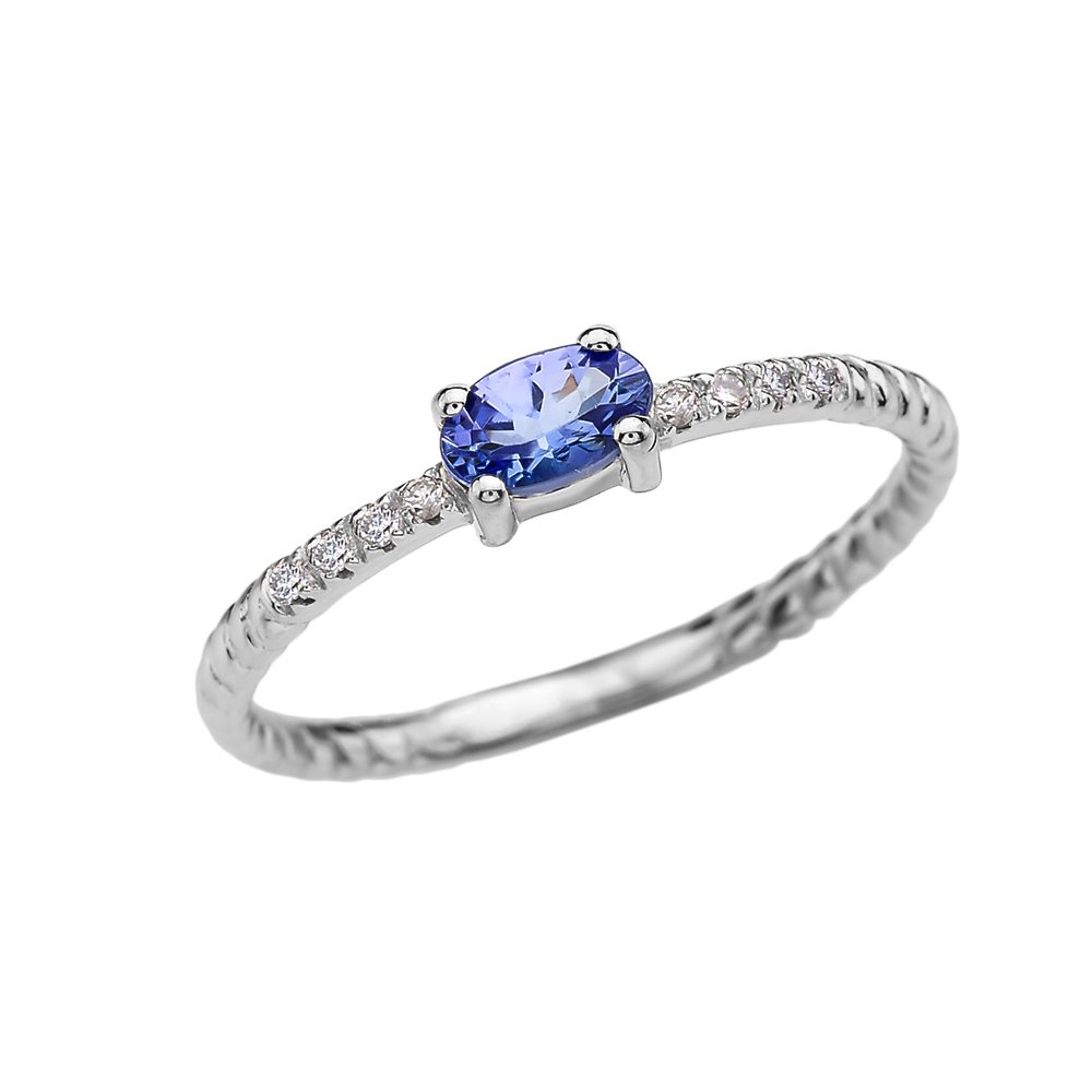 Dainty 14k White Gold Diamond and Solitaire Oval Tanzanite Rope Design Stackable/Proposal Ring(Size 6.5)