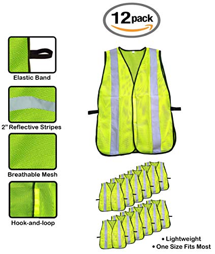 High Visibility Yellow Safety Vest By Reflectes – Breathable Reflective Security Vest For Men & Women With 2 Inch Reflective Strips- Ideal For Jogging, Running, Bike Riders, Traffic & Workers (12Pack) by Reflectes