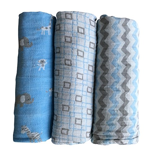 - Muslin Baby Swaddle Blankets by LANCON Kids (3 Pack) - 100% Cotton, Soft, Stylish, Multi-Use Blankets 47 x 47 (Blue/Gray/White - Chevron, Square, Safari Collection)