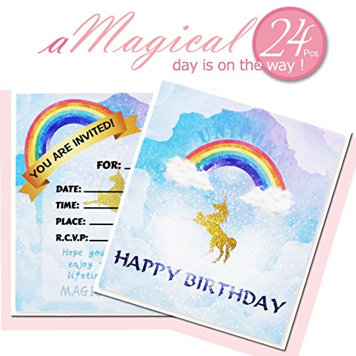 Unicorn Birthday Invitation Cards 24pack Double Sided Magical
