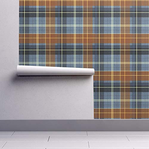 Removable Water-Activated Wallpaper - Plaid Plaid Blue Rust White Plaid Tartan Preppy Orange Blue Navy Masculine by Peacoquettedesigns - 24in x 60in Smooth Textured Water-Activated Wallpaper Roll (Preppy Wallpaper)