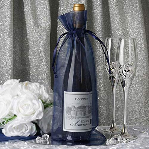 Efavormart 50PCS Navy Blue Organza Gift Bag Drawstring Pouch Wedding Favors Bridal Shower Treat Jewelry Bags - 6