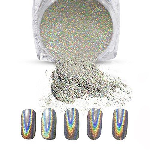 Vrenmol 1g/Box Holographic Laser Powder Nail Glitter Rainbow Chrome Nail Powder Manicure Pigment (Holographic Nail Glitter)