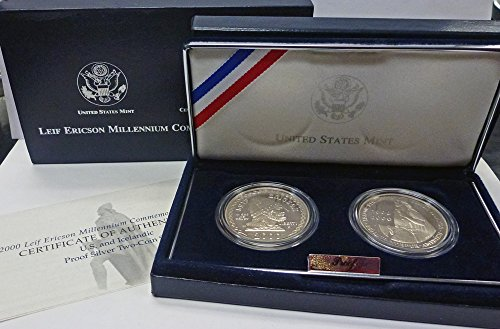 2000 P Commemorative Set 2000 Leif Ericson US and Iceland Proof Silver 2 Coin Set OGP