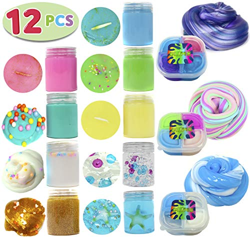 (12 PCs Ultimate Silly Fluffy Slime Putty Kit Supplies ALL IN ONE with Cloud, Unicorn, Galaxy, Mermaid Sea, Fruit, Clear, Foam, Rainbow, Glitter, Fishbowl Fun Glossy Smiles in Containers for)