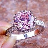 Lovely Gift Round Cut Pink & White Topaz Gemstone Silver Ring Sz 6 7 8 9 10 11#by pimchanok shop (10, Pink Topaz)