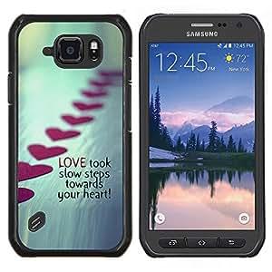"""Be-Star Único Patrón Plástico Duro Fundas Cover Cubre Hard Case Cover Para Samsung Galaxy S6 active / SM-G890 (NOT S6) ( Amor Pasos de San Valentín Línea Metal Heart"""" )"""