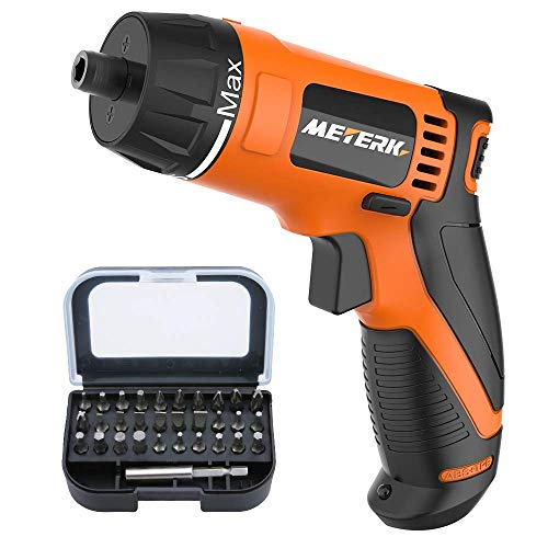 Cordless Electric Screwdriver, Meterk 10 N.m Power Rechargeable Screwdriver with LED Working Light 7.2V 1500mAh Lithium Battery and 31pcs Drive Bits