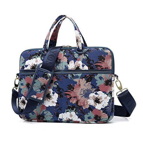 Bag Orchid - kayond Watercolor orchid Patten Canvas Laptop Shoulder Messenger Bag Case Sleeve for 14-14.1Inch Laptop and Macbook Pro A1707