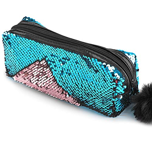 Phogary Glitter Cosmetic Bag Mermaid Spiral Reversible Sequins Portable Double Color Students Pencil Case for Girls Women Handbag Purse Make Up Pouch with Pompon Zip Closure]()