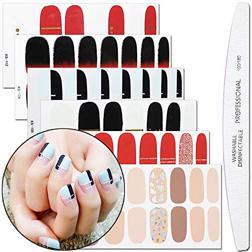 WOKOTO 6 Sheets Gradient Nail Polish Decals With 1Pcs Nail File Glitter Solid Color Adhesive Manicure Wraps Sticker Strips
