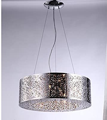 "Drum Shade Bird Nest Chandelier Pendant Ceiling Lamp Dia 24"" X H8"" Inca Laser Cut Shade Crystal Inside"