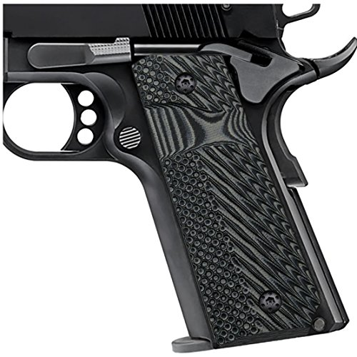 EXEL Cool Hand 1911 Full Size G10 Slim Grips, 3/16 Thin, Big Scoop, Ambi Safety Cut, OPS Texture, These Grips Only Work with Short Bushings, Grey/Black, - Thin Grips