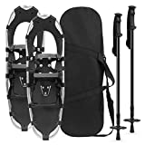 Best Choice Products 21in Unisex Aluminum Terrain Snowshoes Set w/ 2 Adjustable Trekking Poles and Carrying Bag - Silver