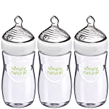 NUK Simply Natural Baby Bottle, Clear, 9oz 3pk