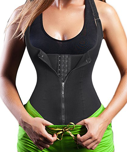 Eleady Women's Underbust Corset Waist Trainer Cincher Steel Boned Body Shaper Vest with Adjustable Straps (3XL, Black) (Best Waist Cincher Vest)