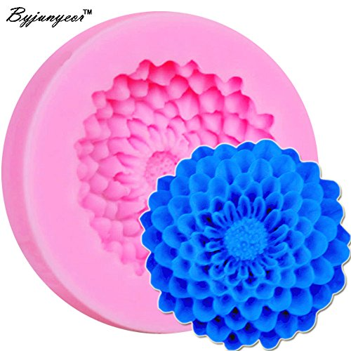 Byjunyeor M227 1 Cavity of Chrysanthemum Flower Silicone Mold, Fondant Molds Sugar Resin Mould For Cakes Craft Tools