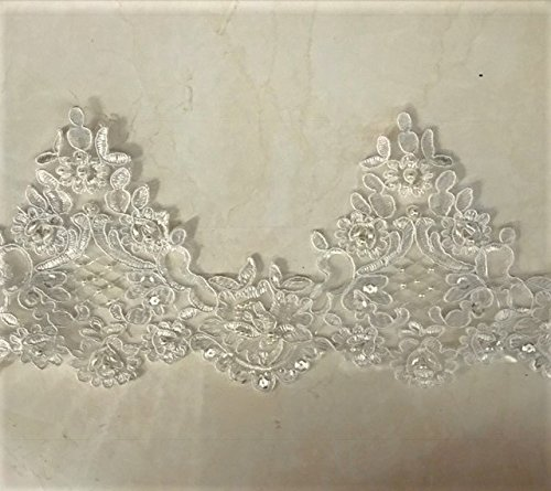 Pearl beaded lace trim, bridal alencon lace, sequined lace trim for bridal veil, bridal dress selling per yard, Setting With Organza on the background (Lace Veils Alencon)