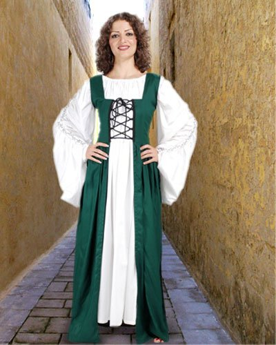[Medieval Renaissance Fair Maiden's Dress (Large, Green)] (Green Medieval Dress)