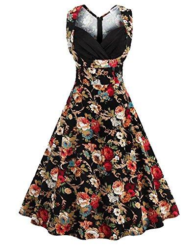 YiLianDa Vestido Estampado Floral Estilo Casual y Elegante Vestido Vintage para Fiesta sin Mangas Negro