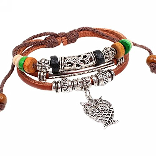 Vintage Multilayer Leather Beaded Love Charms Hand Chain Owl Cross Boho Bracelet Retro Cuff Style Chain Bangle gsXxjFKcK